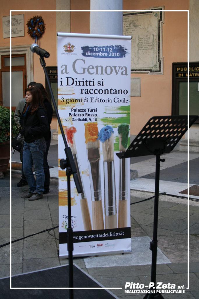 Comune di Genova. Rollup formato cm. 80x200, stampa su pvc, struttura in alluminio.
