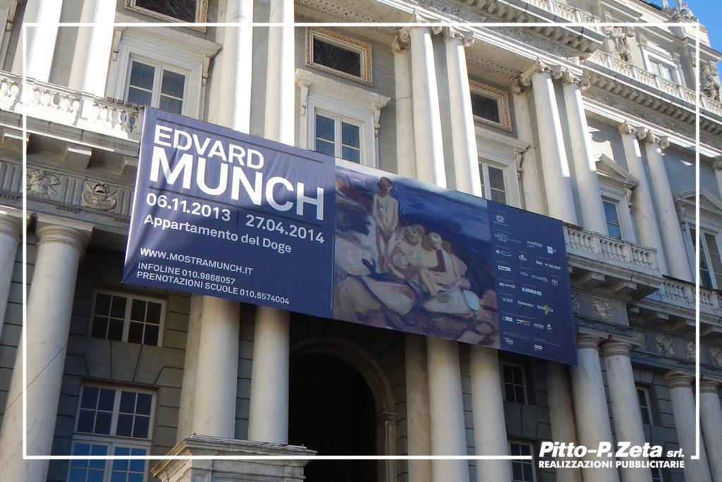 Allestimento esterno mostra Munch, Palazzo Ducale, Genova. Stampa e montaggio stendardo.