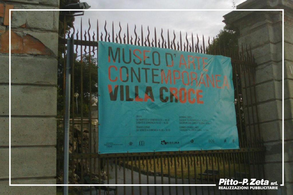 Villa Croce: stampa e montaggio stendardo ingresso. (Impianti grafici forniti)